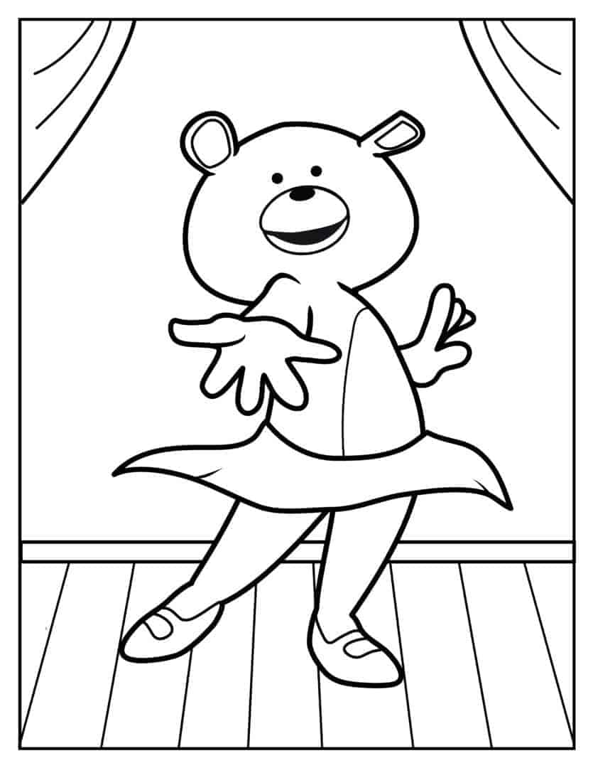 Coloring Pages - Dancing Bear - Jazz-Tap5