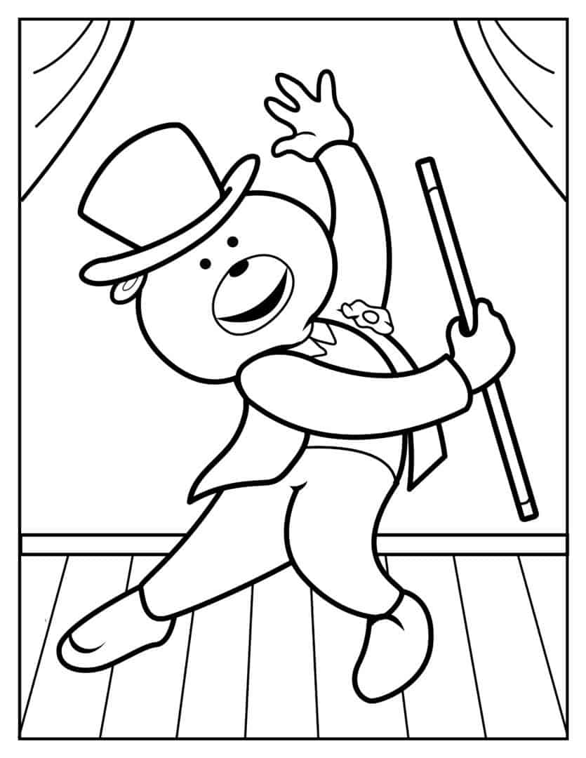 Coloring Pages - Dancing Bear - Jazz-Tap2
