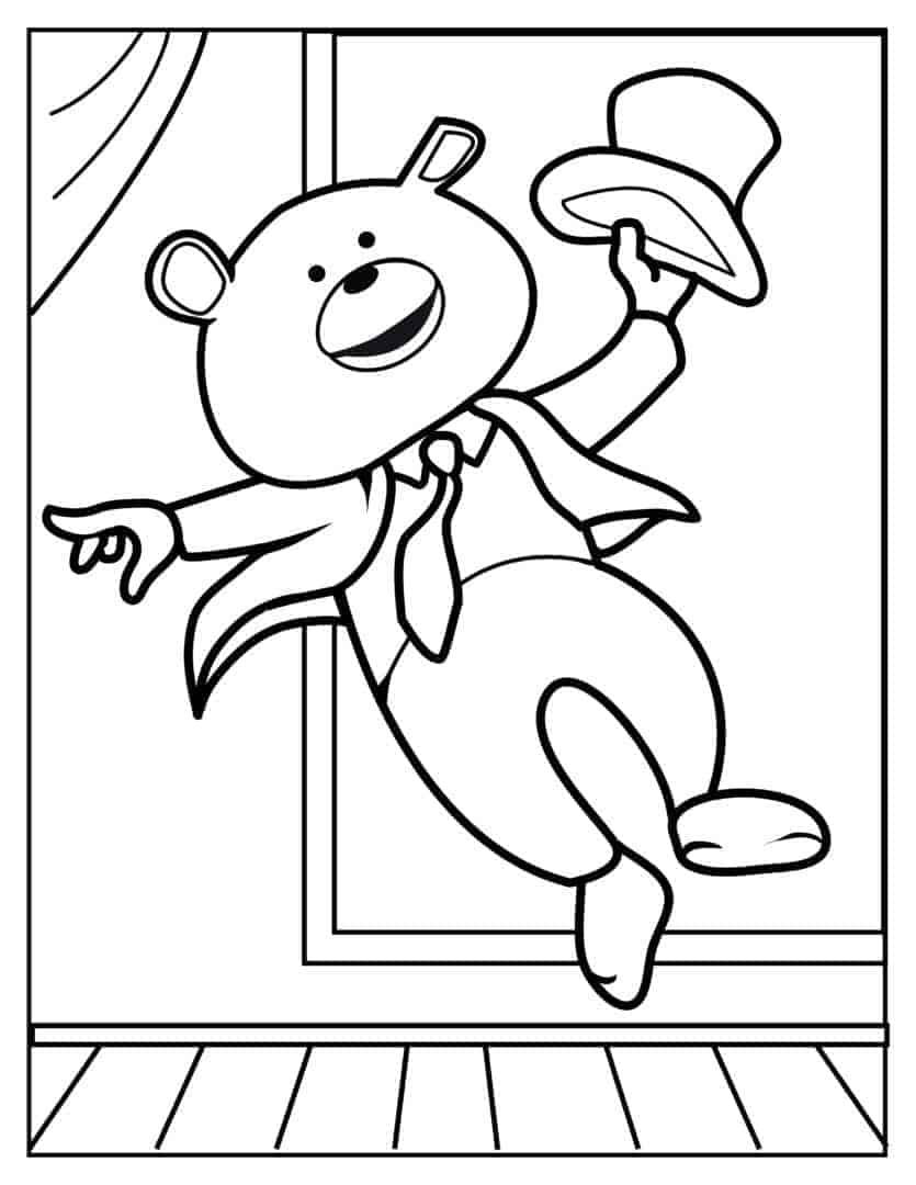 Coloring Pages - Dancing Bear - Jazz-Tap3