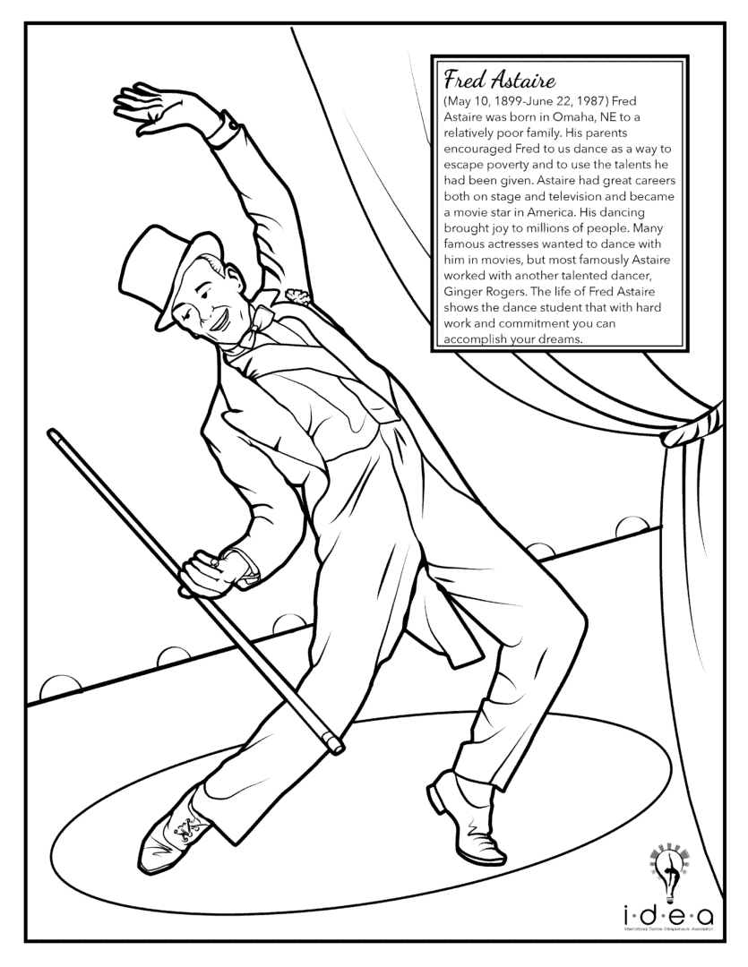 Coloring Pages - Famous Dancers - Fred Astaire